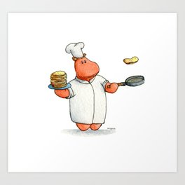 Who wants pancakes?? A cute chef hippo kids illustration Art Print