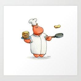 Who wants pancakes?? A cute chef hippo kids illustration Art Print