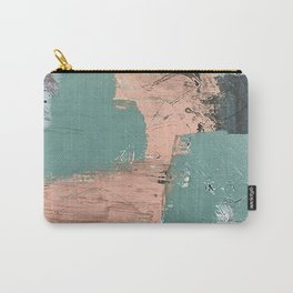 13th and Grant: an abstract mixed media piece in peach green blue and white Carry-All Pouch