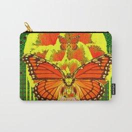 MODERN MONARCH BUTTERFLIES GREEN-YELLOW ART Carry-All Pouch