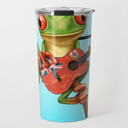Tree Frog Playing Acoustic Guitar with Flag of Bermuda Travel Mug
