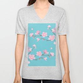 Cherry Blossom - Robin Egg Blue Unisex V-Neck