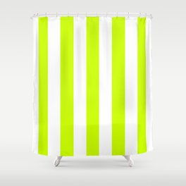 Electric lime green - solid color - white vertical lines pattern Shower Curtain
