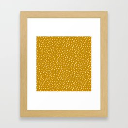 Mustard Paint Drops Framed Art Print