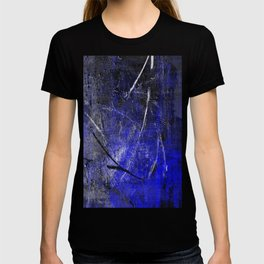 In The Dead Of Night - Textured Abstract In Blue, Black and White T-shirt