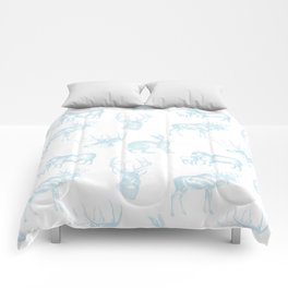 Woodland Critters in Winter Blue Comforters