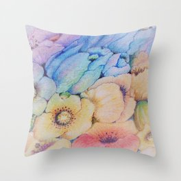 Summer fantasy with by hand drawn flowers. Throw Pillow