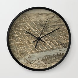 Vintage Print - Bird's Eye View of Knoxville, Tennessee, 1871 Wall Clock