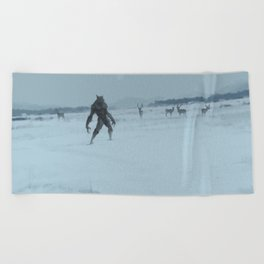 a lonely wolf Beach Towel