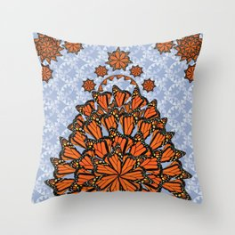 Mariposa Boho D in Periwinkle Throw Pillow