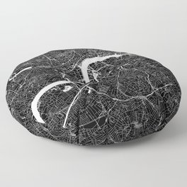 London Black And White Map Floor Pillow