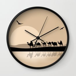 Camel Caravan going through the Desert Wall Clock