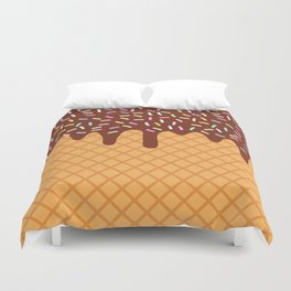 waffles with flowing chocolate sauce and sprinkles Duvet Cover
