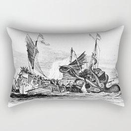 1810 vintage nautical octopus steampunk kraken sea monster drawing print Denys de Montfort retro Rectangular Pillow