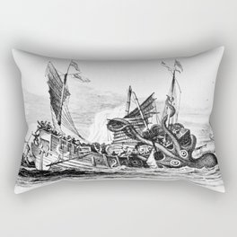 1810 vintage nautical octopus steampunk kraken sea monster drawing print Denys de Montfort retro Rectangular Pillow