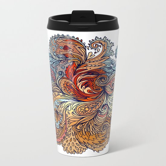 Brown Floral Indian Pattern Metal Travel Mug