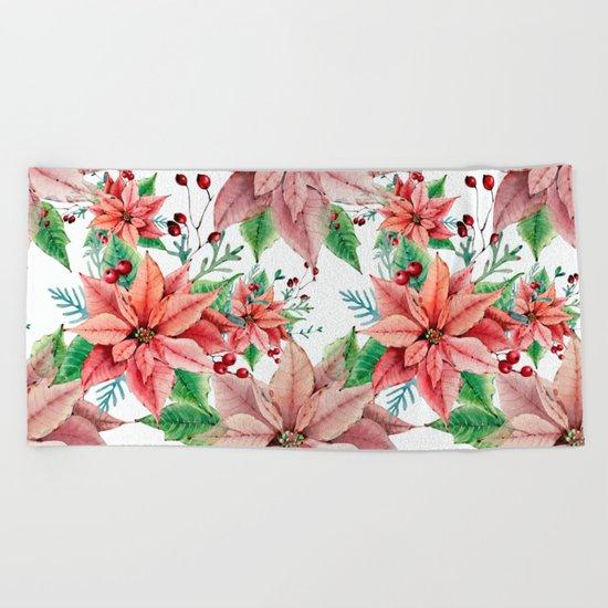 Red Poinsettia Beach Towel