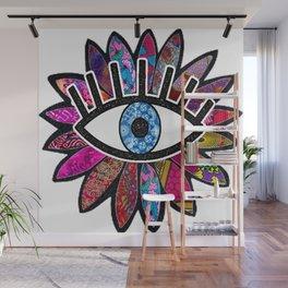 Greek Evil Eye Purple Flower Wall Mural