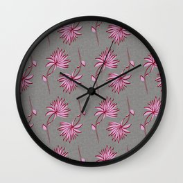 art deco floral pink and grey Wall Clock