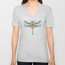Mechanical Dragonfly on White Background ( Steampunk ) Unisex V-Neck