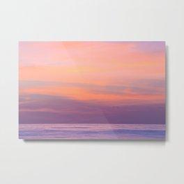 Purple Dreams - Ocean Sunset, Landscape, Scenery, Beautiful Purple Orange Yellow Metal Print