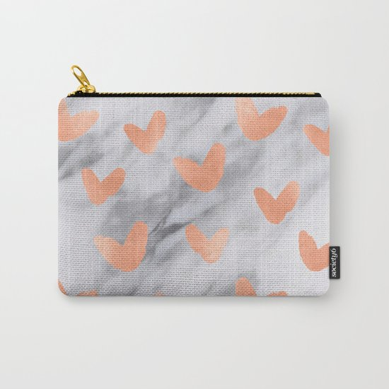 Hearts Rose Gold Marble Carry-All Pouch