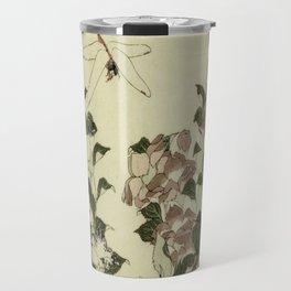 Hokusai – campanula and odonata -insect,flower, nature,garden Travel Mug