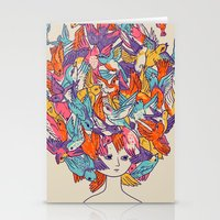birdy Stationery Cards featuring Birdy by Julia Sonmi Heglund
