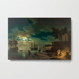 Night, A Port in Moonlight by Claude Vernet Metal Print