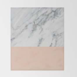 Marble and Blush Pink Throw Blanket