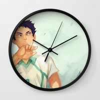 haikyuu Wall Clocks featuring Iwaizumi by viria