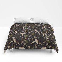 Mushroom pattern 1 black Comforters
