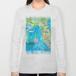 USA Florida State Fine Art Print Retro Vintage Map with Touristic Highlights Long Sleeve T-shirt