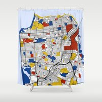 san francisco map Shower Curtains featuring San Francisco by Mondrian Maps