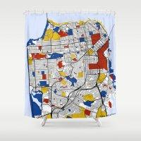 san francisco Shower Curtains featuring San Francisco by Mondrian Maps