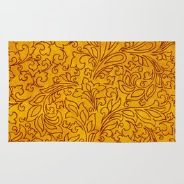 Vintage Red Yellow Floral Ornament Rug