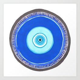 Blue and Silver Evil Eye Mandala Art Print