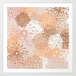 Floral Prints, Blush and Terracotta, Coloured Prints Art Print