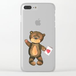 bear with postcard and heart Clear iPhone Case