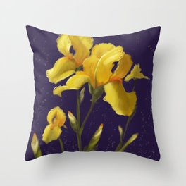 Irises in Yellow Throw Pillow