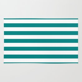 CVS0086 Teal Blue and White Stripes Rug