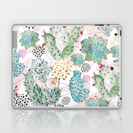 Modern triangles and hand paint cactus pattern Laptop & iPad Skin