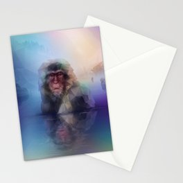 Macaque (Low Poly Multi I Snow Monkey) Stationery Cards
