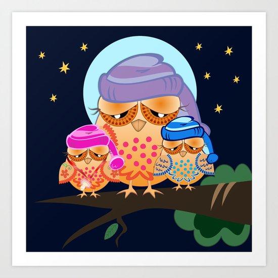 Sleepy Owl Family under a full moon Art Print