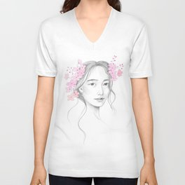 Japanese Cherry Blossom Unisex V-Neck