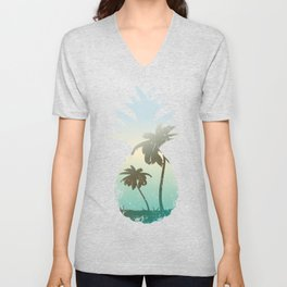 Pineapple Palm Tree Sunset Beach Vacation Gift Unisex V-Neck