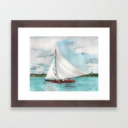 Sail Away watercolor painting of sailboat on turquoise waters Framed Art Print