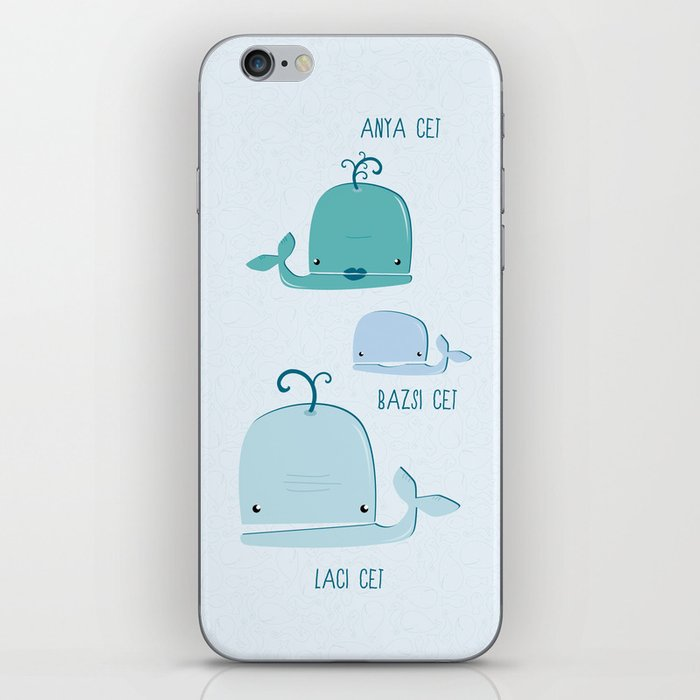 whale family iPhone Skin