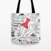 john green Tote Bags featuring Paper towns, John Green by Natasha Ramon