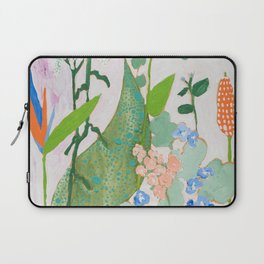 Multi Floral Painting on Pink and White Background Laptop Sleeve